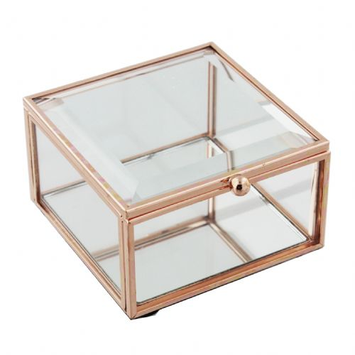 Rose Gold Jewellery Box 9x9cm
